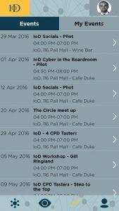 IOD Advance app screen calendar