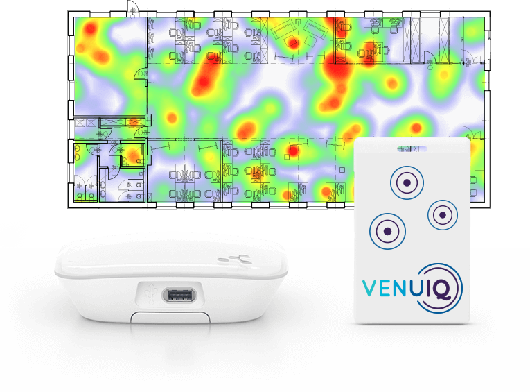 card beacons locate and track heat map graphic at an event. Available from VenuIQ.