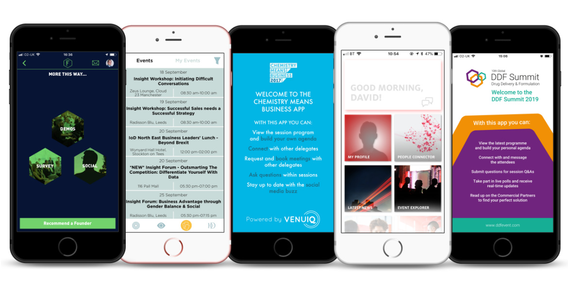 Event apps by VenuIQ shown on iphone 8 screens