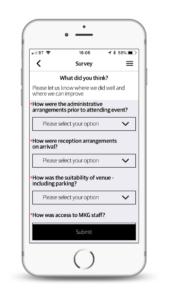 Surveys in Event Builder by VenuIQ. Add a survey to your event app to increase audience engagement and satisfaction.